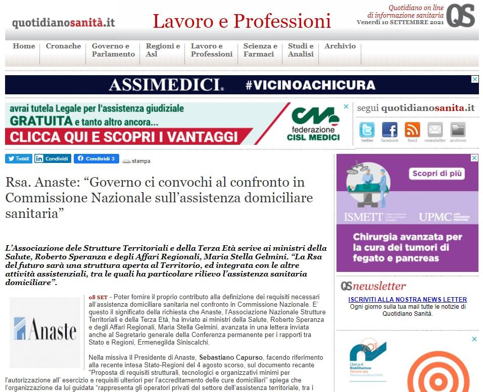 Sanita': assistenza domiciliare, Anaste scrive al Governo – Rassegna Stampa